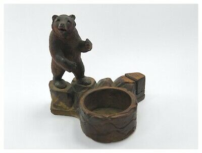 Antique 19th century carved wooden bear novelty figural smokers stand