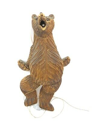 Antique 19th century Black Forest carved wooden bear toy wall puppet toy