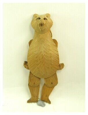 Antique early 20th century Black Forest carved wooden bear toy wall puppet toy