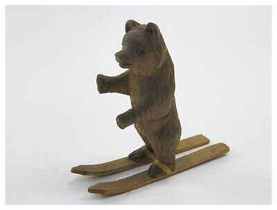 Antique 19th century Black Forest carved wooden bear on skis skiing figure