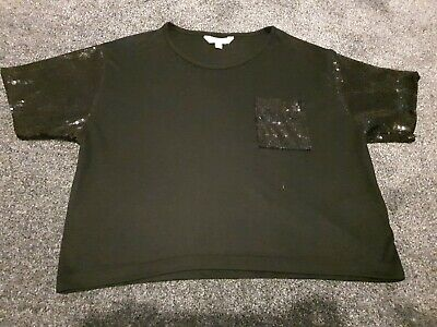 Girls Cropped Tshirt 11-12 Years (sequined sleeves and pocket detail)