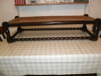 Antique / Vintage Long  Bobbin Turned Leg Stool, With Rattan Top