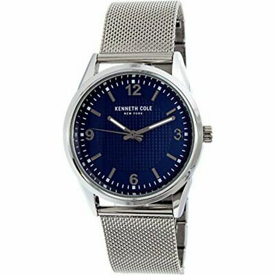Kenneth Cole 10030779 Men's Silver Mesh Band With Blue Analog Dial Watch NWT