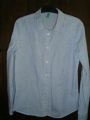 Benetton Girls Gingham Shirt, In Excellent Condition, Size 10/11 Years