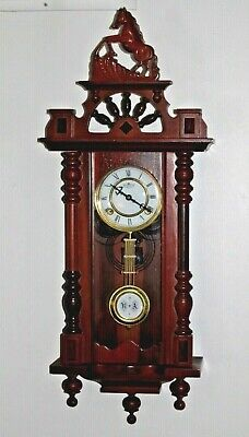 "Vintage Wooden Wall Clock R A Pendulum & Horse Top Overall Works 32"" tall Ornate"