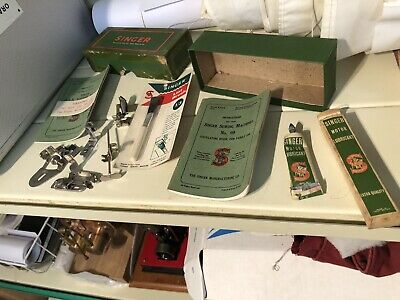 Vintage Singer Sewing Machine Accessories Attachments And Green Box