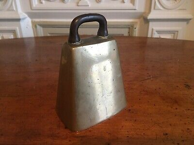 Antique Cow Bell. Bronze Or Brass. Iron Handle