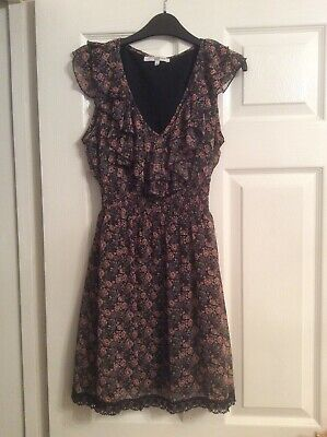 Ladies/Girls Short Dress From New Look Size 8 Worn Once Floral Print On Black