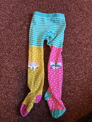 Frugi Hotchpotch Tights Age 2-4 Years Pink Yellow And Blue Guc