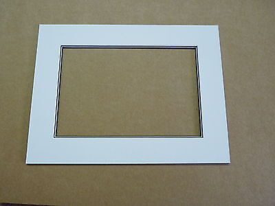 "8""x6"" photo mount for 6"" x 4"" photo, White with black and white bevel"