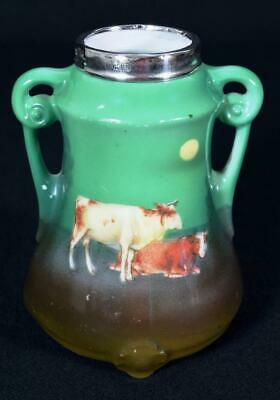 Antique Art Nouveau Royal Bayreuth Pottery Cow Vase Silver Collar Dated 1912