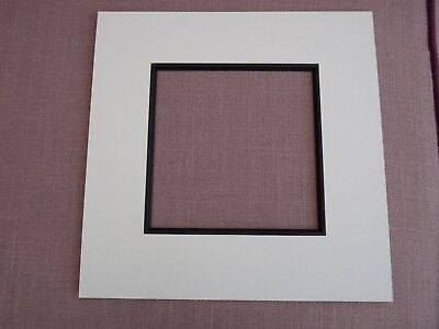 "White Photo mount with black mount slip for 5"" square picture"
