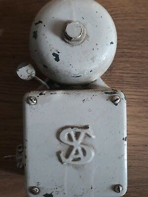 Original Vintage  Cast Iron Electric Alarm Bell  8 1/2in X 4 1/2in