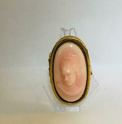 "Vintage 1960s 'RAISED PINK CAMEO"" Solid Perfume Compact/Ring"