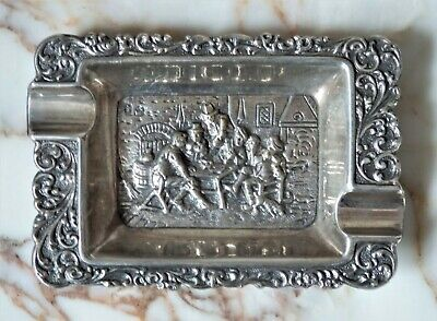 Antique Dutch Silver Heavy Repoussé Ashtray Bar Scene Hallmarked 53 g