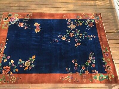 ANTIQUE  ART DECO TREE OF LIFE CHINESE RUG 8.2x11.6 AMAZING COLORS EARLY 1900s