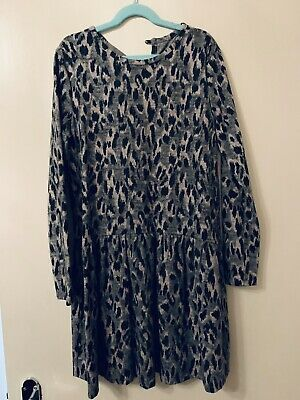 Dunnes Stores Grey & Pink Animal Print Dress - Girls 31/32In