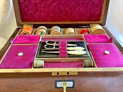 Superb Quality Mid Victorian Rosewood, Jewellery,Sewing Box Tools & Contents