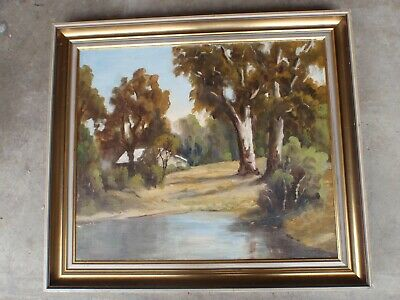 "1970s Oil Painting by J Barnes - Mitcham - ""Reflection"" King River Oxley"