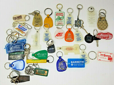 Vintage Set of 33 Keychains Car Plastic Metal Rubber Printing Clic Ring
