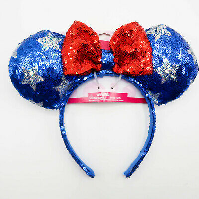 Disney Americana Stars Sequin 4th of July Minnie Mouse Ears Headband