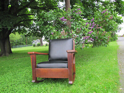 Antique Charles Limbert Large Arm Rocking Chair  w4361 (Stickley Era)