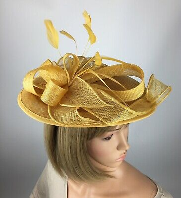 Gold Yellow Fascinator Wedding Hatinator Mother Of The Bride Ascot Occasion Hat