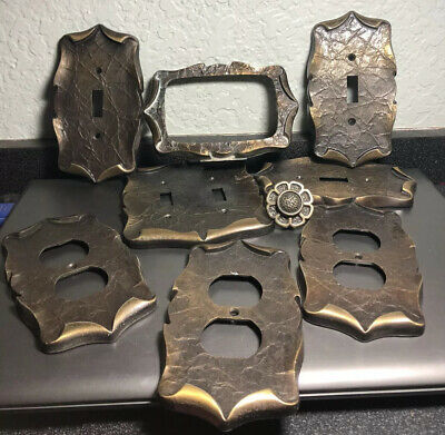 Vtg. Amerock Brass Hardware Lot - Outlet Covers, Switchplate, Knob, Etc.