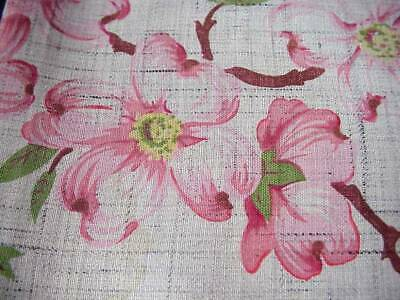 """Pretty Vintage Cotton Table Cloth Pink Dogwood Branches 44""""X 50"""" Gray Background"""