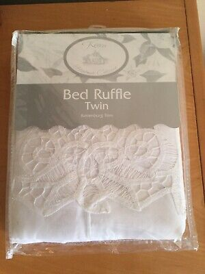 "Keeco 100% Cotton White Bed Skirt Ruffle Handmade Twin Battenburg Trim 39""X76"""