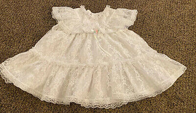 VTG Girl Dress White Lace Twirl Party Pageant Ruffles Full Circle 18 24 Mo