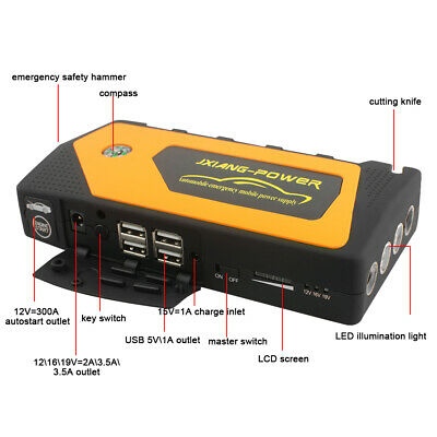 Portable 69800mAh Car Jump Starter Engine Battery Emergency Charger Power Bank