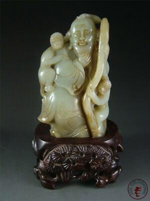 Antique Old Chinese Celadon Nephrite Jade Statue OLD MAN & MONKEYS GOD OF LONGEV