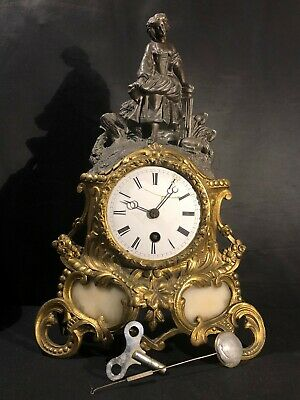ANTIQUE 1880'S FIGURAL GILT MANTEL CLOCK With ORIGINAL PENDULUM and KEY!