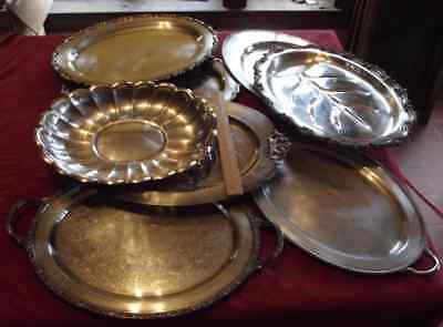 LOT 8 large heavy metal trays dishes plates service platters silverplate silver