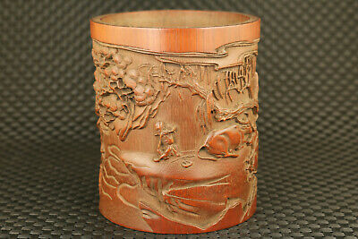 chinese old bambo hand carved ox  sage statue brush pot collectable