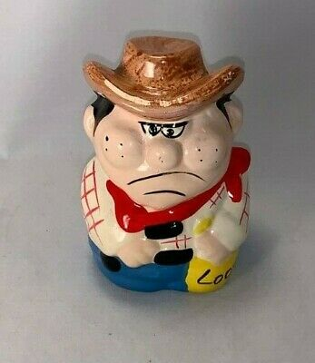 Vintage Ceramic, Cowboy Still Bank (4 Inches Tall,Missing Trap)