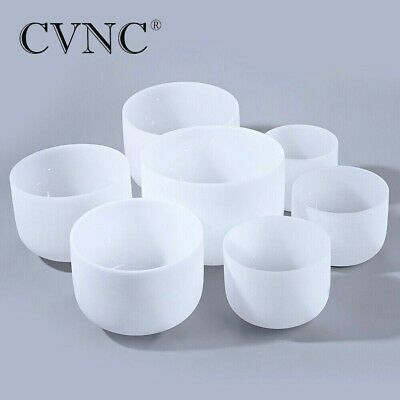 """7pcs 6""""-12"""" Chakra Tuned Set of Frosted Quartz Crystal Singing Bowl for Healing"""