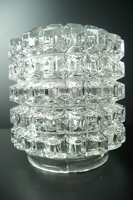 Vintage Mid Century 50s 60s 70s Retro Cylindrical Textured Clear Glass Lampshade