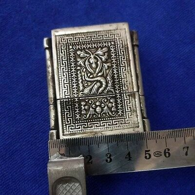 Vintage Old Objects collected Tribal exotic handmade miao silver matchbox 1piece