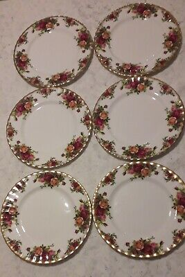 "6 X  Royal Albert Bone China Old Country Roses   8""  Supper / Salad Plates"
