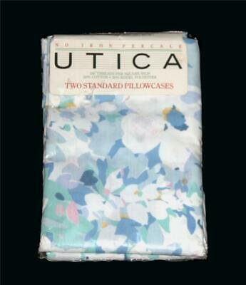 2 VTG Utica Pastel Blue Green Yellow Floral Percale Standard Pillowcases NIP USA