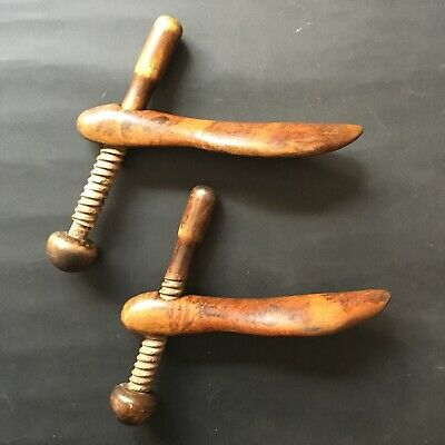 Victorian shoe lasts / stretchers medium wooden corkscrew method - antique treen