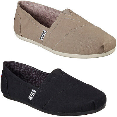 Skechers Bobs Plush - Peace And Love Shoes Canvas Slip On Pumps Flats Womens