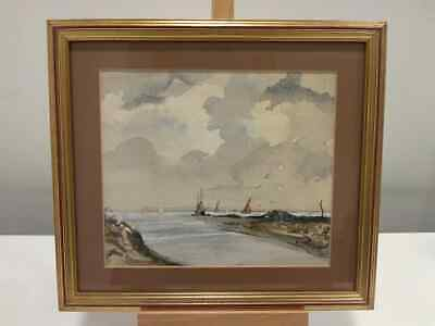 Antique Early 20th Century Watercolour Of Sailing Boats On The Horizon, Framed