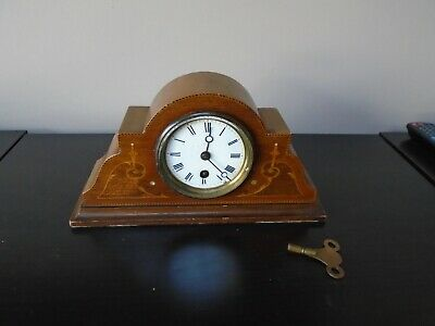 Antique mantel clock c 1900 Spares or repair. Has key. Art nouveau design.