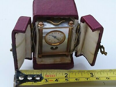 Antique Miniature Swiss Mother Of Pearl And Bronze Carriage Clock & Leather Case