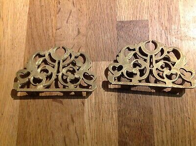 Dial Face Case Top Embellishment Brass Pair 95x55mm Ex Clockmakers Spare Parts