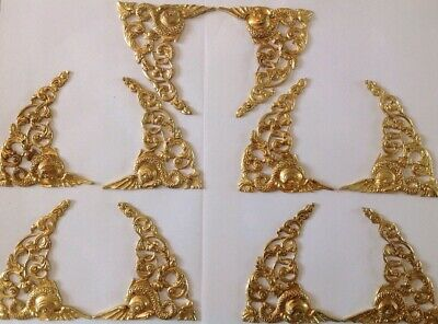Antique Spandrels Brass Pair From Clockmakers Spare Parts Collection 85x115mm