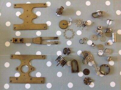 Antique Clock Parts Including Large Suspension Clockmakers Repair Spare Parts